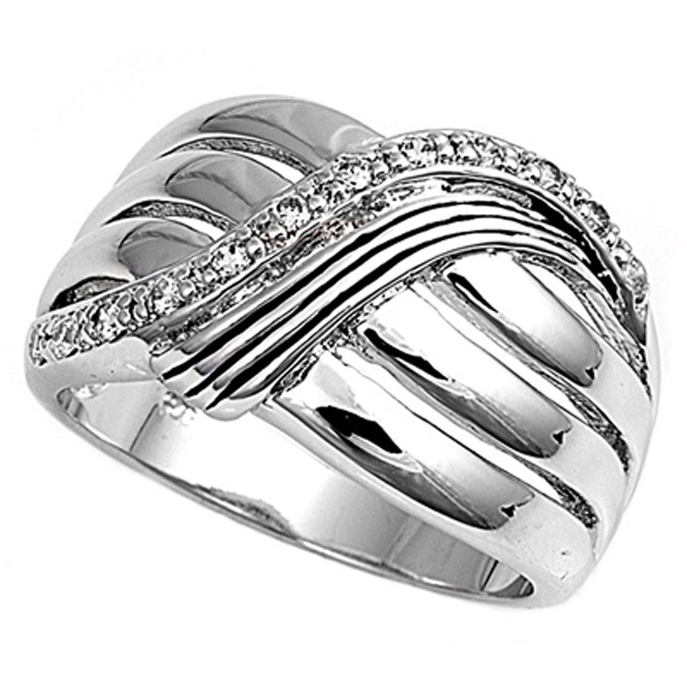 Sterling Silver Women's White CZ Ring Fashion Pure 925 New Wide Band Size 8 by Sac Silver