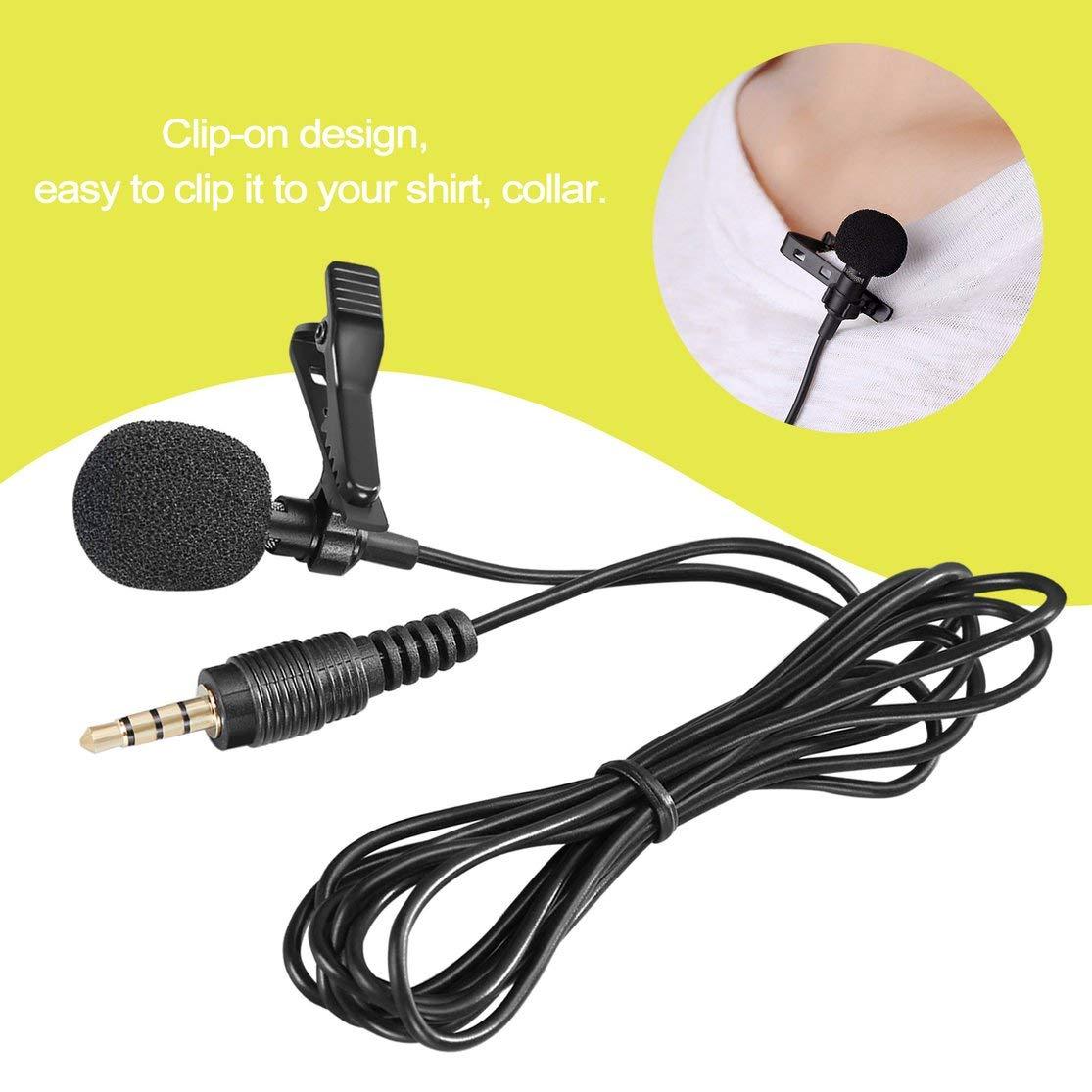 LouiseEvel215 Mini Lavalier Mic Krawattenklammer Mikrofone Smartphone Aufnahme PC Clip-on Revers Unterst/ützung Sprechen Singen Sprache Hohe Empfindlichkeit