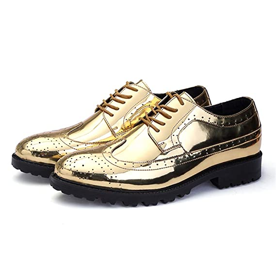 2ae9c72d66580a Jingkeke Moda Uomo PU Pelle Verniciata Vamp Oxfords Signori Stringate Scarpe  da Ginnastica Traspiranti Accattivante (Color : Gold, Dimensione : 46 EU):  ...