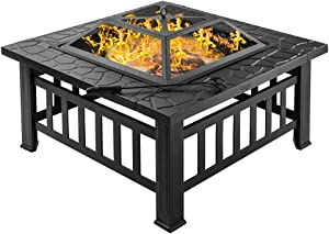 """Bonnlo 32"""" Fire Pit Outdoor Wood Burning Table Backyard, Terrace, Patio, Camping - Includes Mesh Spark Screen Top, Waterproof Cover and Poker"""
