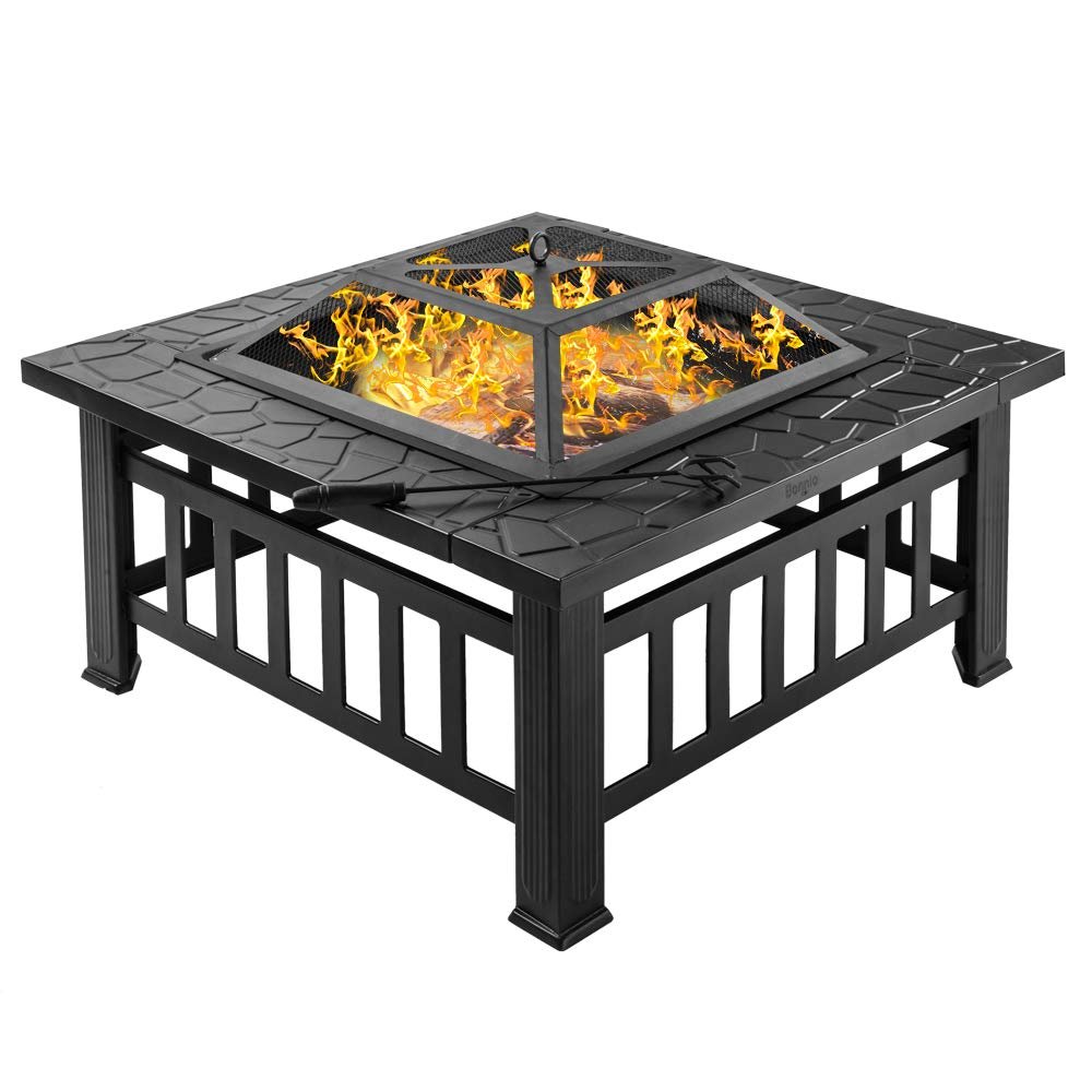 Bonnlo 32 Fire Pit Outdoor Wood Burning Table Backyard, Terrace, Patio, Camping – Includes Mesh Spark Screen Top, Waterproof Cover and Poker