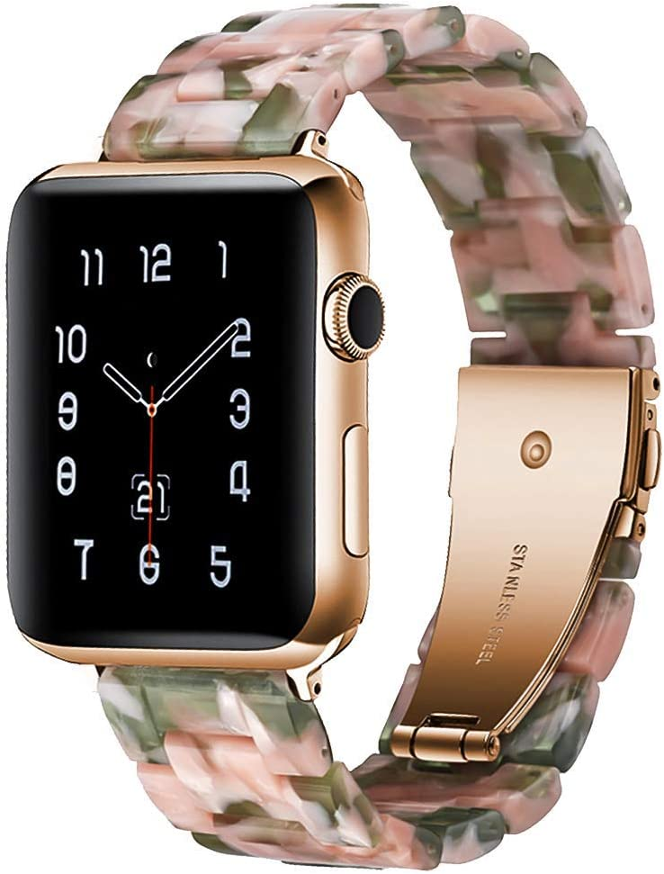 Compatible for Apple Watch Band 38mm 40mm 42mm 44mm Lightweight Resin Bracelet Stainless Steel Buckle Wristbands for iWatch Series 5/4,Series 3/2 /1
