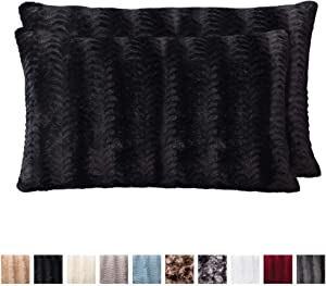 The Connecticut Home Company Original Faux Fur Pillowcases, Set of 2 Decorative Case Sets, Throw Pillow Covers, Luxury Soft Cases for Bedroom, Living Room, Sofa, Couch and Bed, 12x20 inch, Black