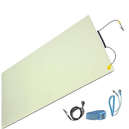 Minadax ESD Antistatik-Matte 60cm x 120cm - inkl. Manschette + Verlängerung - Professionelle Antistatische Arbeitsmatte - PVC
