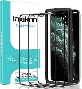 laxikoo 3 Pack Protector Pantalla para iPhone 11 Pro MAX/iPhone XS MAX, Cristal Templado con Marco Instalación Fácil Cobertura Completa Sin Burbujas 9H Vidrio Templado iPhone 11 Pro MAX/XS MAX: Amazon.es: Electrónica
