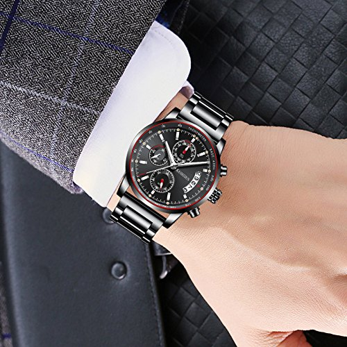 Watches Mens Sports Chronograph Waterproof Analog Quartz Watch with Black Leather Band Fashion Watch (A-Black) (A Black)