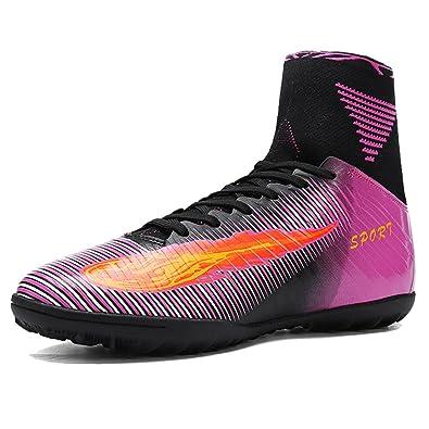 4a443c4c46b2a5 AKALI Crampons High Top Chaussures de football Homme,Vert,Violet,Orange