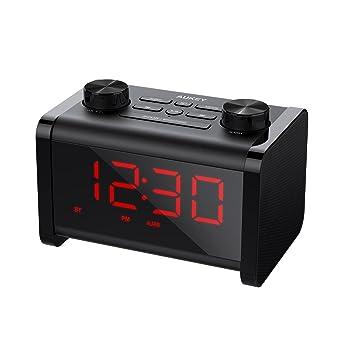 AUKEY Radio Despertador Altavoz Bluetooth con Temporizador de Sueño, Reloj y Alarma con Función de Snooze, y LCD Pantalla con Brillo Ajustable