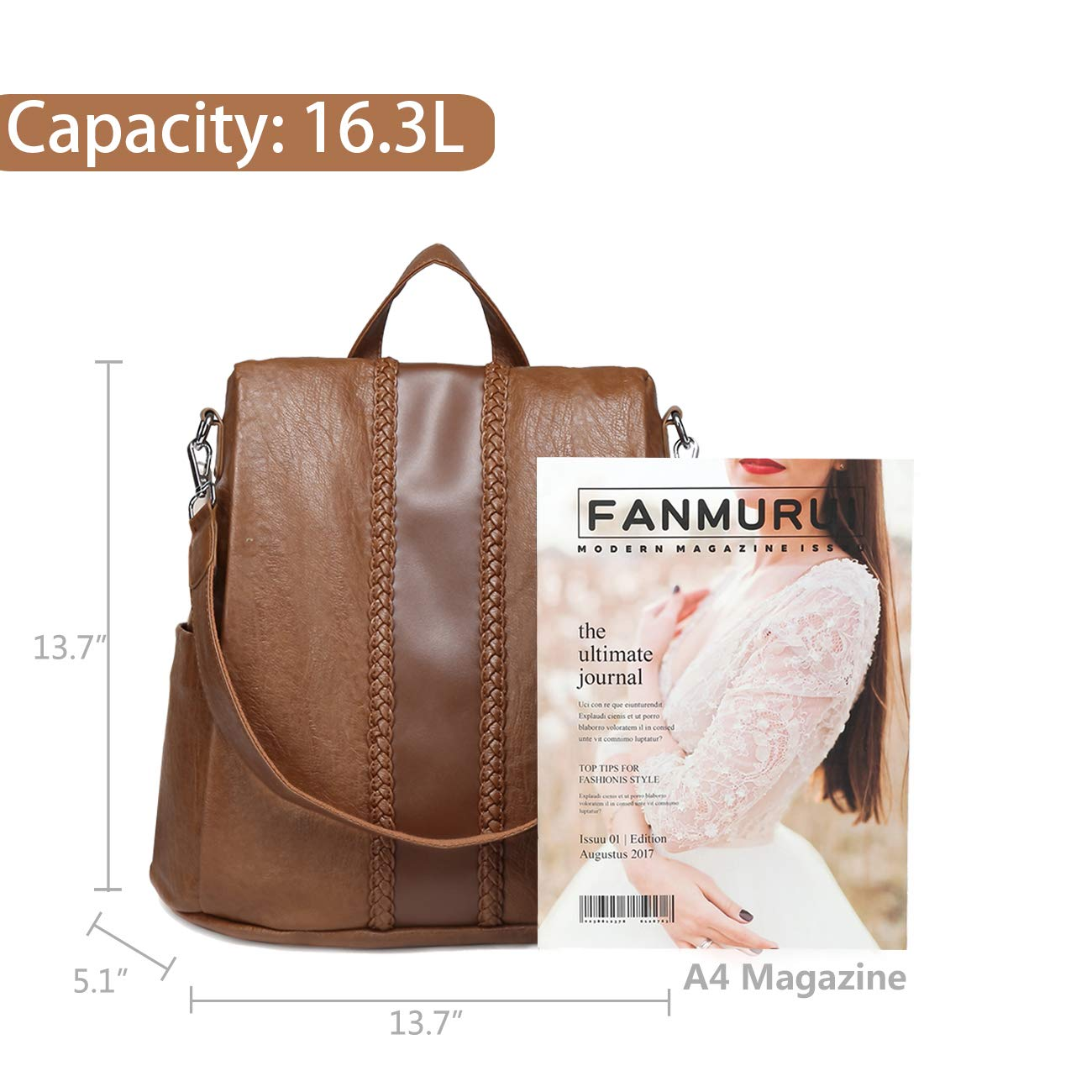 Backpack Purse for Women,VASCHY Fashion Faux Leather Convertible Anti-theft Backpack for Ladies with Vintage Weave Brown by VASCHY (Image #3)