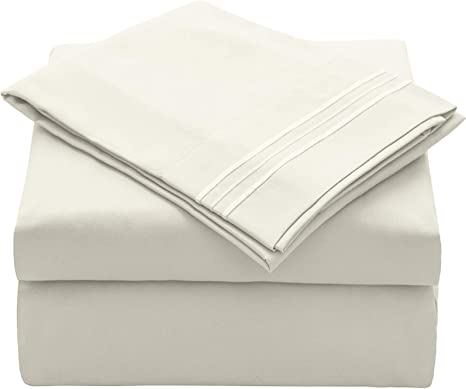 Hypoallergenic Comfortable Fitted Sheet 1 Flat Sheet 1 Fitted Sheet 1 Pillowcase VEEYOO Twin XL Size Bed Sheet Set 16 inches Deep Pocket 3 Piece Brushed Microfiber 1800 Bedding Set Ivory