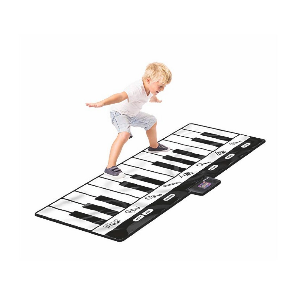 Giant Piano Playmat, Black And White Color, Vinyl Material, 24 Keys, 8 Different Instrument Sounds, Ideal For Children Up To 3 Years Of Age, Batteries Required & E-Book Home Decor