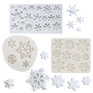 (Set of 3) Winter Snowflake Fondant Molds, Christmas Snowflake Silicone Sugarcraft Gum Paste Mold for Cake Cupcake Topper Decoration Chocolate Candy Polymer Clay Resin Mold Frozen Party Supplies