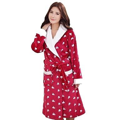 Amazon.com: ACMEDE Ladies Fleece Bath Robes Dressing Gowns Housecoat ...