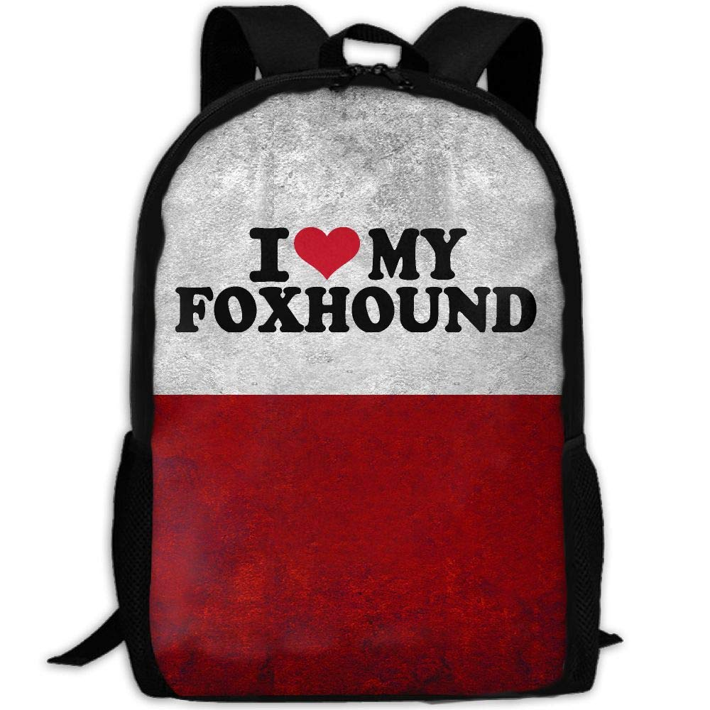 OIlXKV I Love My Foxhound Print Custom Casual School Bag Backpack Multipurpose Travel Daypack For Adult