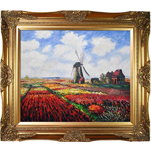 overstockArt Mon986-Fr-6996G20X24 Monet Tulip Field with The Rijnsburg Windmill with Victorian Gold Frame, Gold Finish