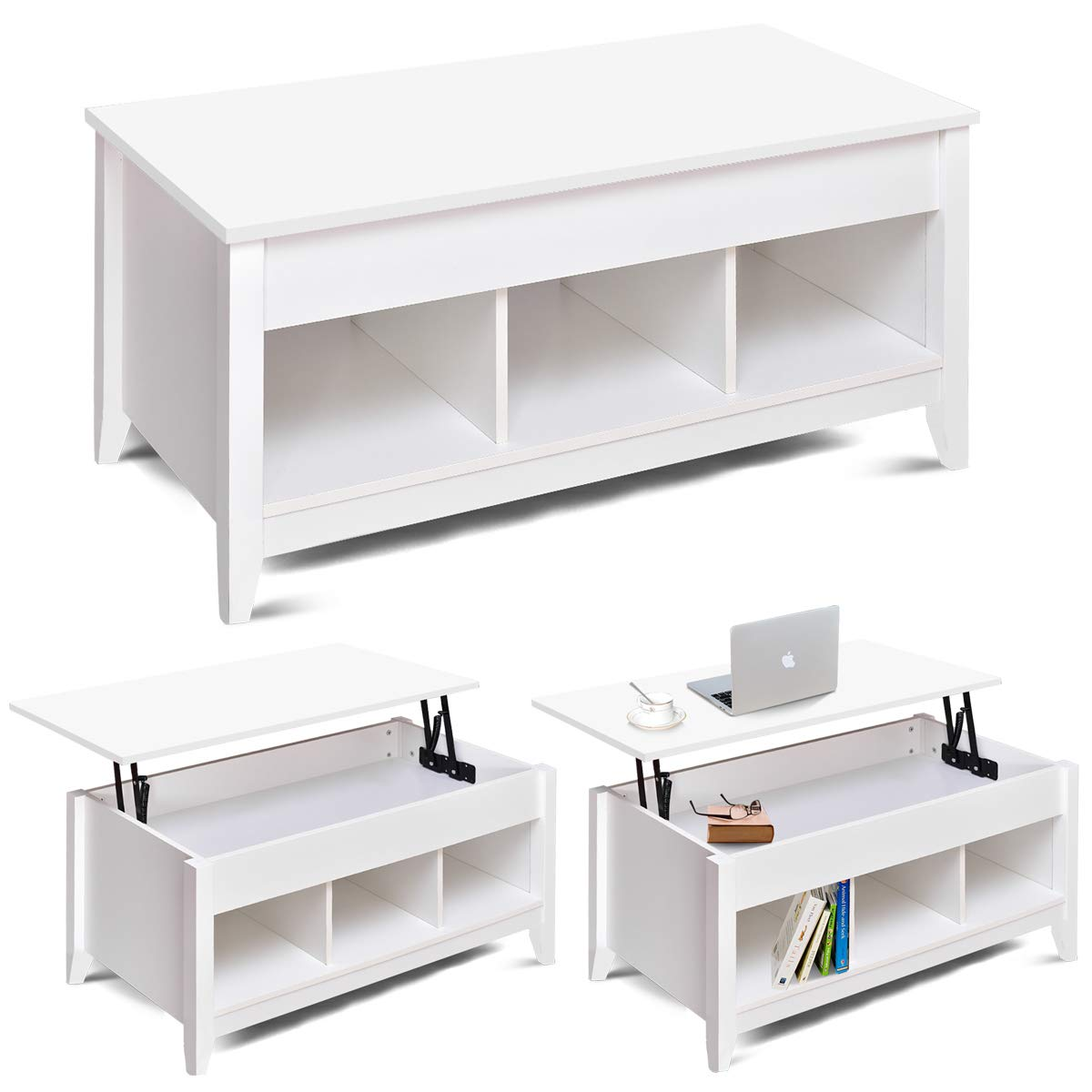 COSTWAY Lift Up Top Coffee Table with Storage & Shelf, Liftable Tabletop, Spring Hinges, 4 Compartments, Smooth Surface, E1 MDF, 105X50X50CM for Living Room, Bedroom, Home, Office (White)