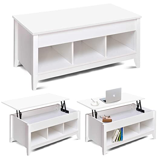 Mesa de café con almacenamiento y estante, mesa elevable, bisagras ...
