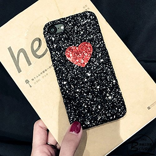 Hülle für iPhone 7 ,Schutzhülle Für iPhone 7 Herzform Glitter Powder Hard Schutzmaßnahmen zurück Fall Fall ,cover für apple iPhone 7,case for iphone 7 ( Color : Black )