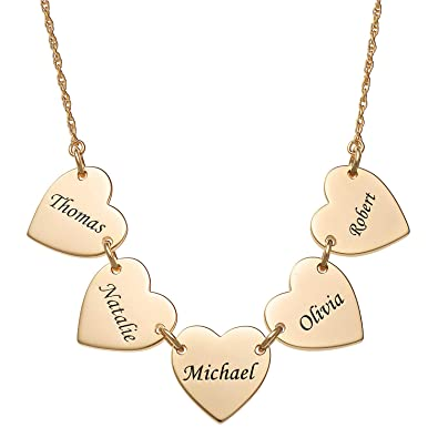 6b14ee8733a0d Amazon.com: LONAGO Personalized 5 Heart Name Necklace Custom 50th ...