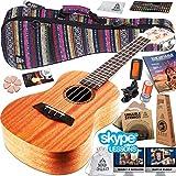 Ukulele Starter Kit (15-FREE-Bonuses) Mahogany Uke, Compression Sponge Case, Aquila Strings, Felt Picks, Tuner, Chord Stamp, Chord Chart, Leather Strap, Live Lesson & More (Limited Time)