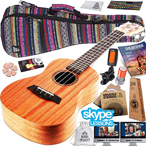 Ukulele Starter Kit (15-FREE-Bonuses) Mahogany Uke, Compression Sponge Case, Aquila Strings, Felt Picks, Tuner, Chord Stamp, Chord Chart, Leather Strap, Live Lesson & More (Limited Time) by Bondi Ukuleles (Image #1)