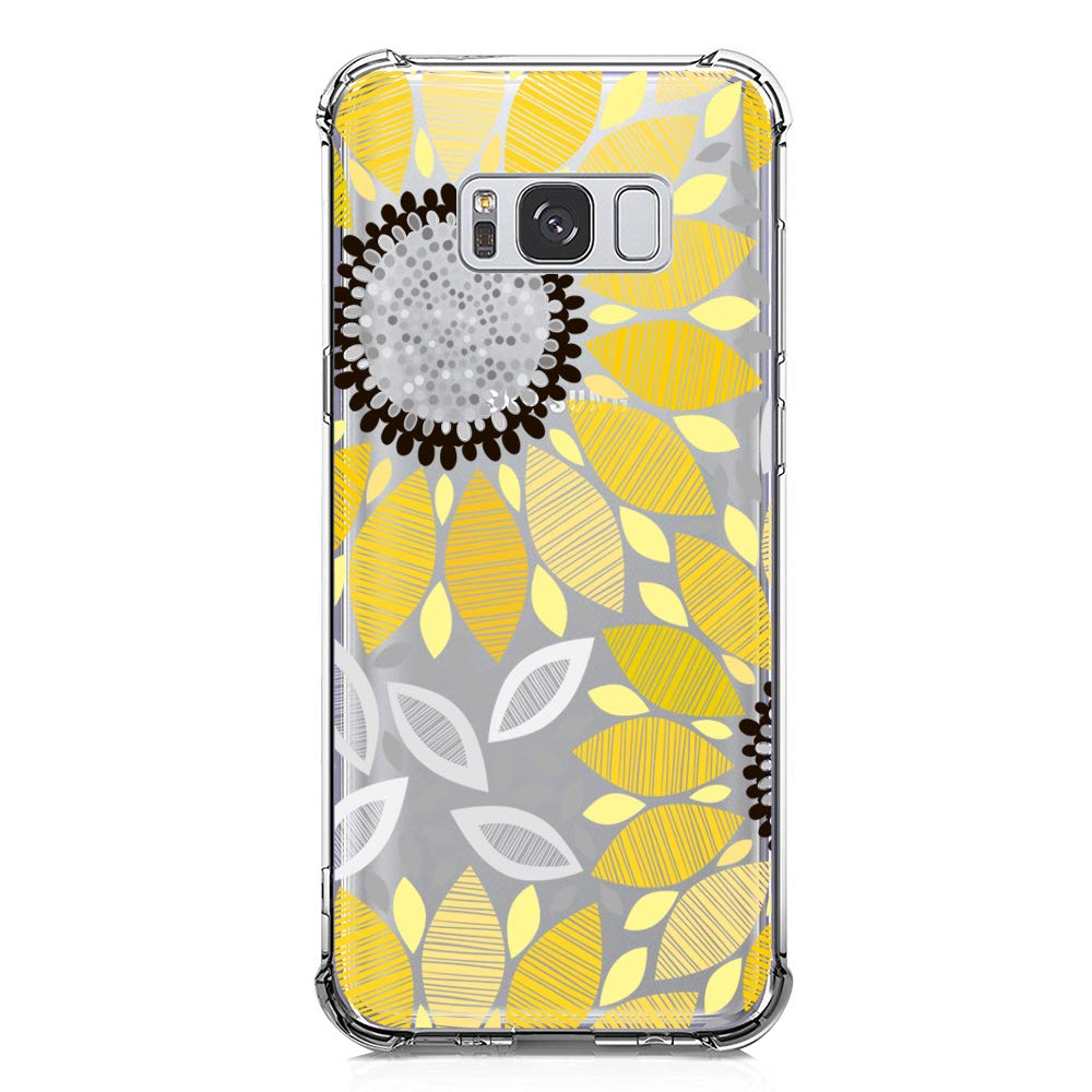 Galaxy S8 Case Clear with Sunflower Design Shockproof Protective Case for Samsung Galaxy S8 Cute Summer Yellow Flowers Pattern Flexible Soft Slim ...