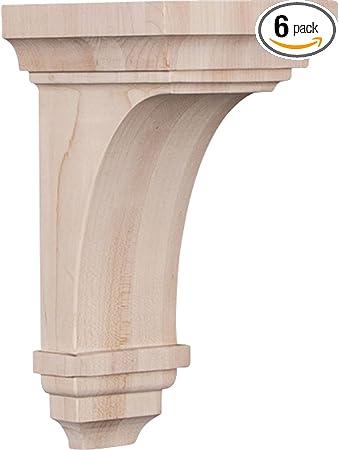 2-Pack Ekena Millwork COR04X05X10TRRW-CASE-2 4 3//4 inch W x 5 inch D x 10 inch H Traditional Recessed Corbel Rubberwood ,