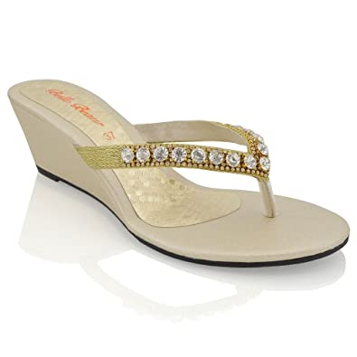 a862cce9159 New Womens Low Heel Wedge Diamante Sandals Ladies Toe Post Sparkly Slip ON Shoes  Gold