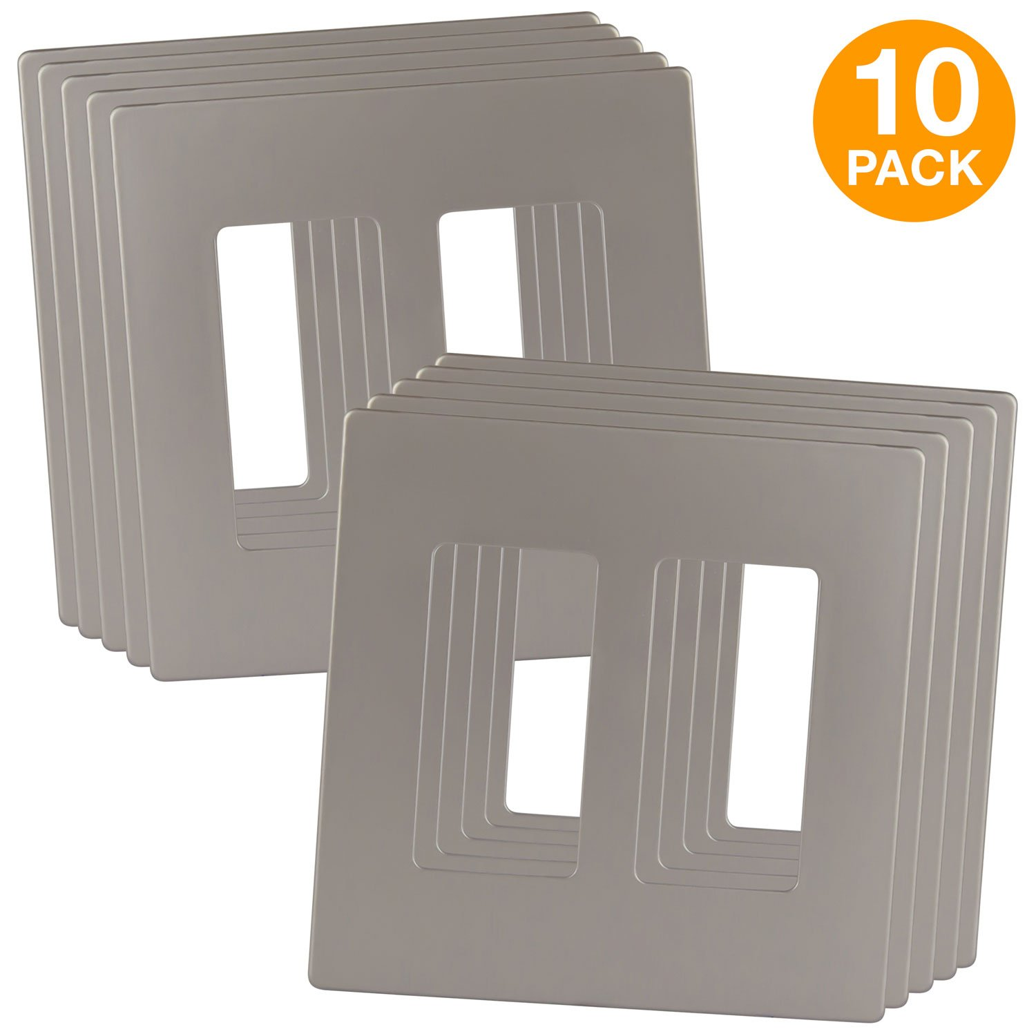 ENERLITES Elite Series Screwless Decorator Wall Plates Child Safe Outlet Covers, Size 2-Gang 4.68'' H x 4.73'' L, Unbreakable Polycarbonate Thermoplastic, SI8832-NK-10PCS, Nickel (10 Pack)