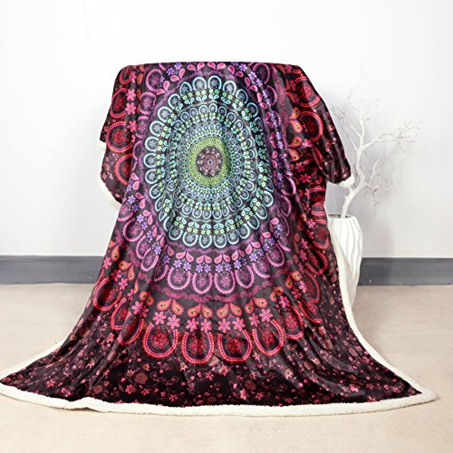 Price comparison product image Sleepwish Sherpa Reversible Throw Blanket Mandala Posture Million Bed Blankets Crystal Velvet Front and Fuzzy Sherpa Back Throw Blanket (60x80 Inches)