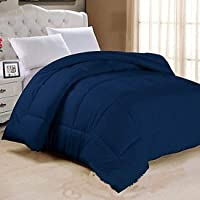 Style 7 250 GSM Double Bed Reversible Comforter/Quilt/Blanket/Duvet, King Size, 90 x 100 Inches (Navy Blue)