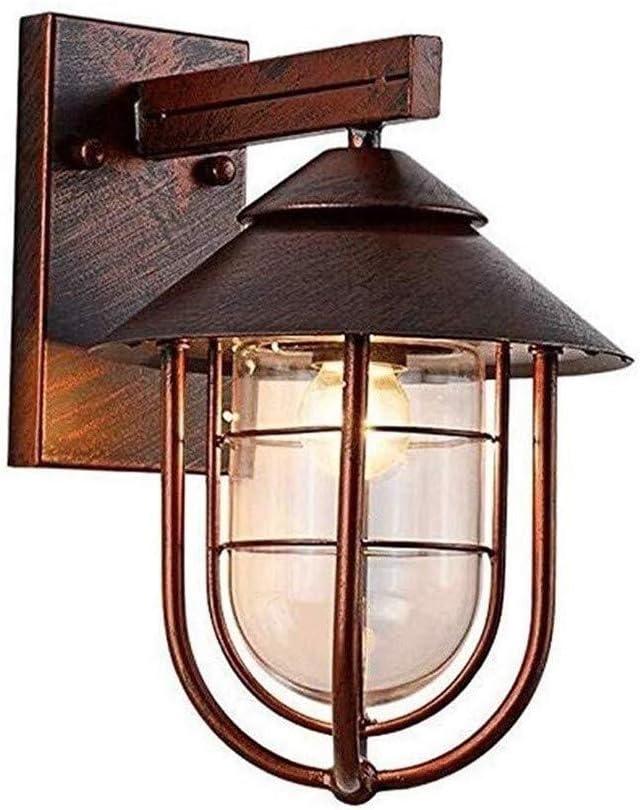 壁ランプアメリカのレトロな屋外防水壁ランプE27回廊バルコニー照明庭の装飾ランプ (Color : Bronze, Size : 21*34cm)
