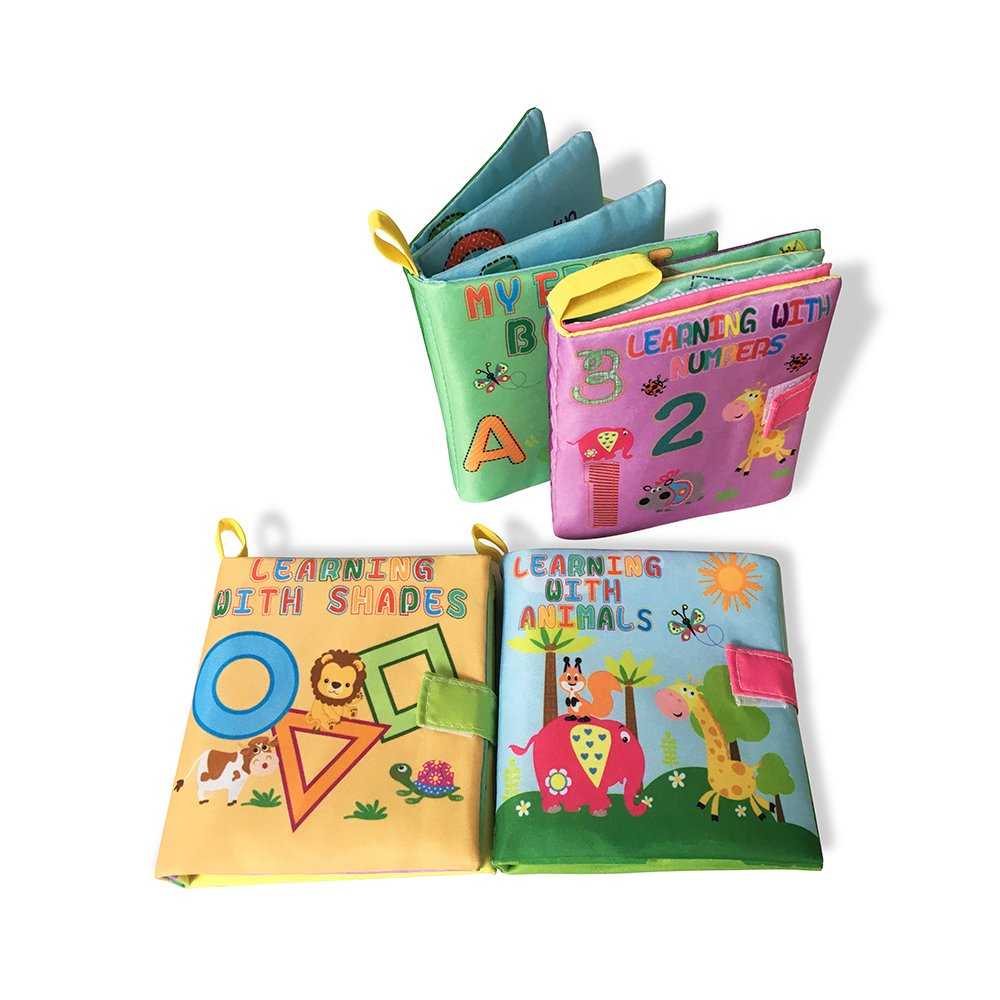 Chiffon doux Cognition livres, Mon premier Tissu doux livres d'activités d'apprentissage (4pcs) Early Education Jouets Jun-see