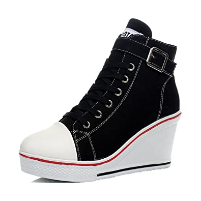 f10b2e88332f mewow Womens Casual Plus Size High Top Buckle Wedge Heel Canvas Shoes  Fashion Sneaker Black