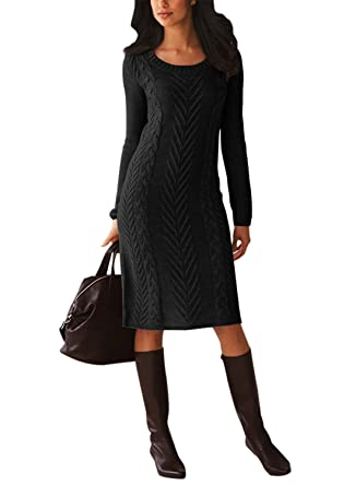 c9e91da401e Itsmode Womens Casual Long Sleeve Slim Fit Crew Neck Cable Knit Pullover  Sweater Bodycon Midi Dress