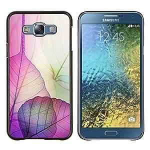 Hojas florales caída del otoño de la naturaleza- Metal de aluminio y de plástico duro Caja del teléfono - Negro - Samsung Galaxy E7 / SM-E700