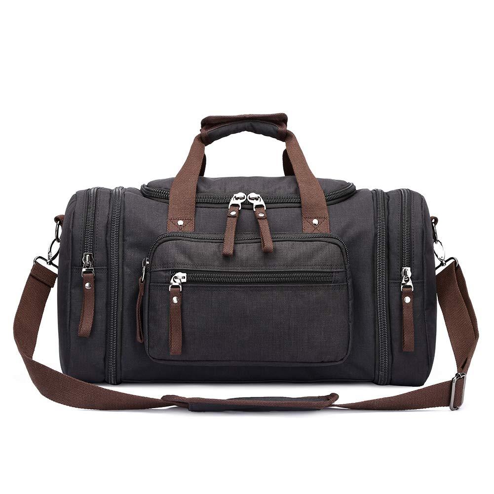 Toupons 20.8'' Large Travel Tote Luggage Men's Weekender Duffle Bag (Black-New) SC003