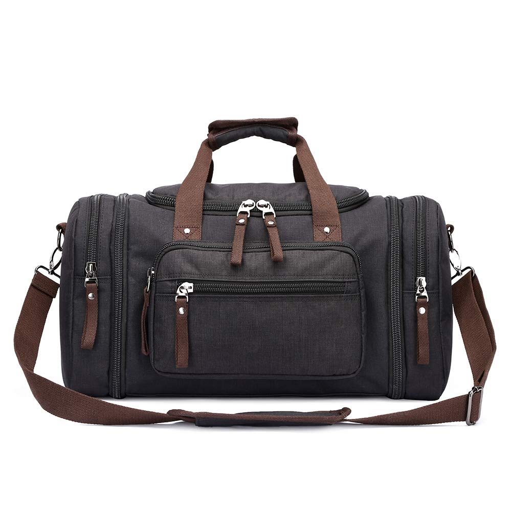 Toupons 20.8'' Large Travel Tote Luggage Men's Weekender Duffle Bag (Black-New)