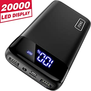 INIU Portable Charger, LED Display 20000mAh Dual 3A High-speed Ports with USB C Input Flashlight Power Bank, External Phone Battery Pack for iPhone 11 X 8 7 Plus Samsung S10 Google LG iPad Airpod etc.