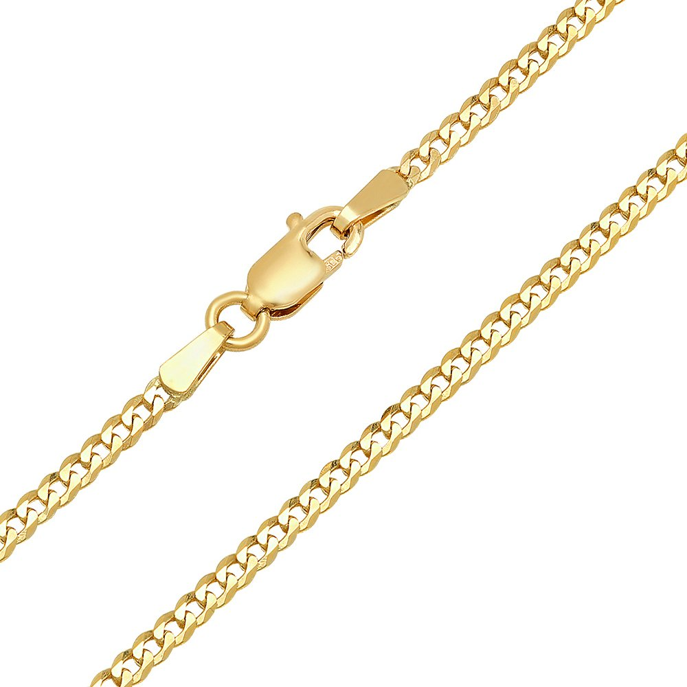 14K Yellow Gold 2mm Concave Curb Classic Link Chain Necklace - 18 inches