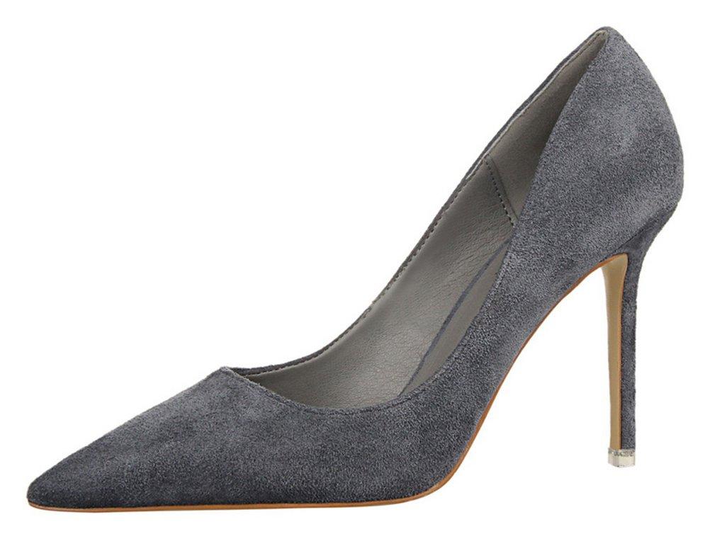 T&Mates Womens Fashion Pointed Toe Pumps High Heel Stilettos Versatile Slip On Suede Dress Shoes (7.5 B(M) US,Gray)