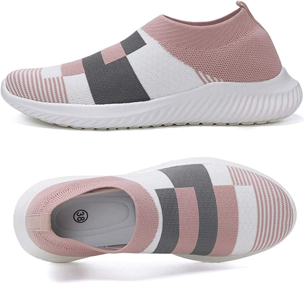 FUDYNMALC Womens Casual Walking Shoes Lightweight Breathable Mesh Athletic Running Shoes Fashion Slip-on Sock Sneakers Comfort Work