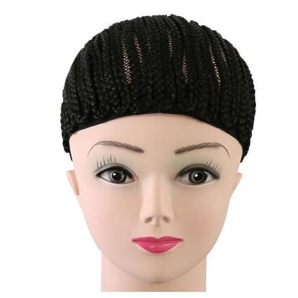 FRCOLOR Gorra de trenzas negras para gorras de peluquería de coser de coser más sencillas Gorras