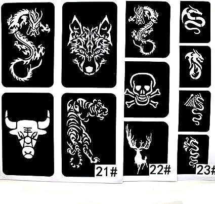 xmasir 22 hoja Cool dibujo purpurina plantilla de tatuaje para ...
