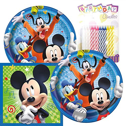 - Mickey Mouse Themed Party Pack - Includes Paper Plates & Luncheon Napkins Plus 24 Birthday Candles - Servers 16