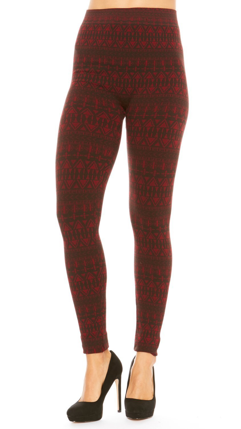 just one Leggings for Women Soft Cotton Blend Comfort Aztec Print (Black/Red, Size S) by just one