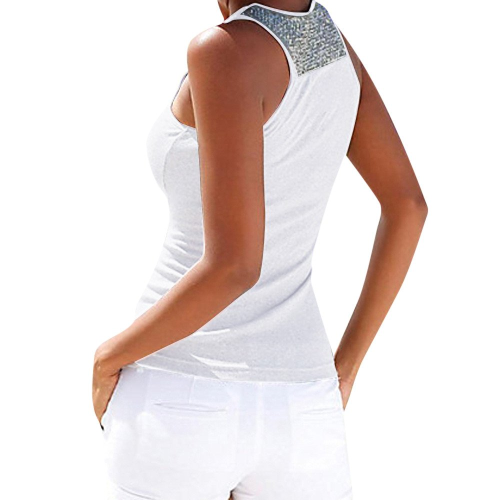 Women Tank Tops Sleeveless Solid Shirt Sequin Splice Plus Size Casual Vest Tunic Tops Blouse (S, White) by Yihaojia Women Blouse (Image #1)
