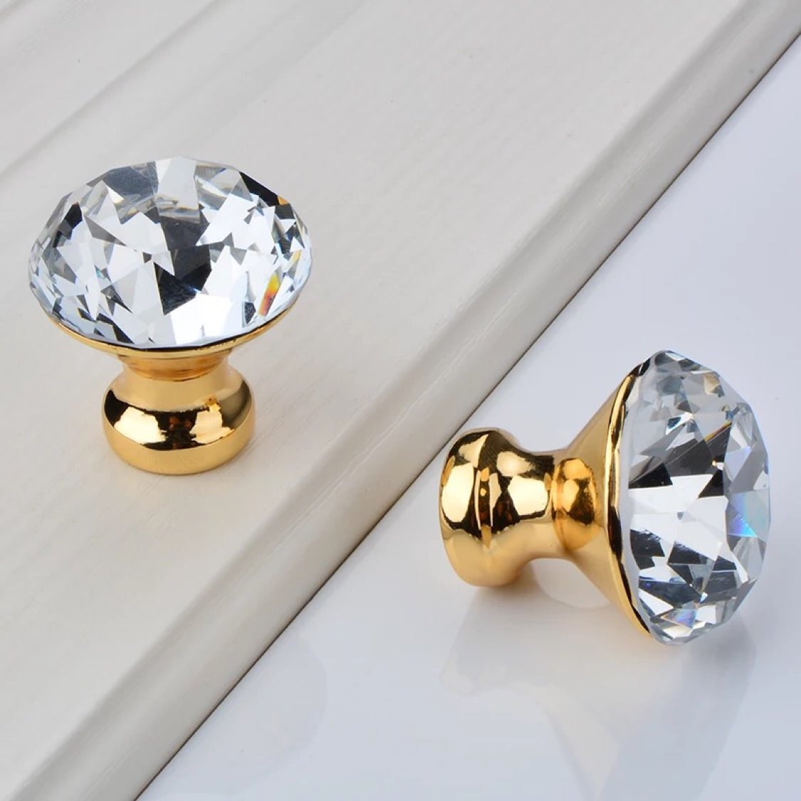 Crystal Glass Cabinet Knobs - LONGWIN 10pcs 30mm crystal Dresser Cupboard Drawer handles (Gold) by LONGWIN (Image #5)