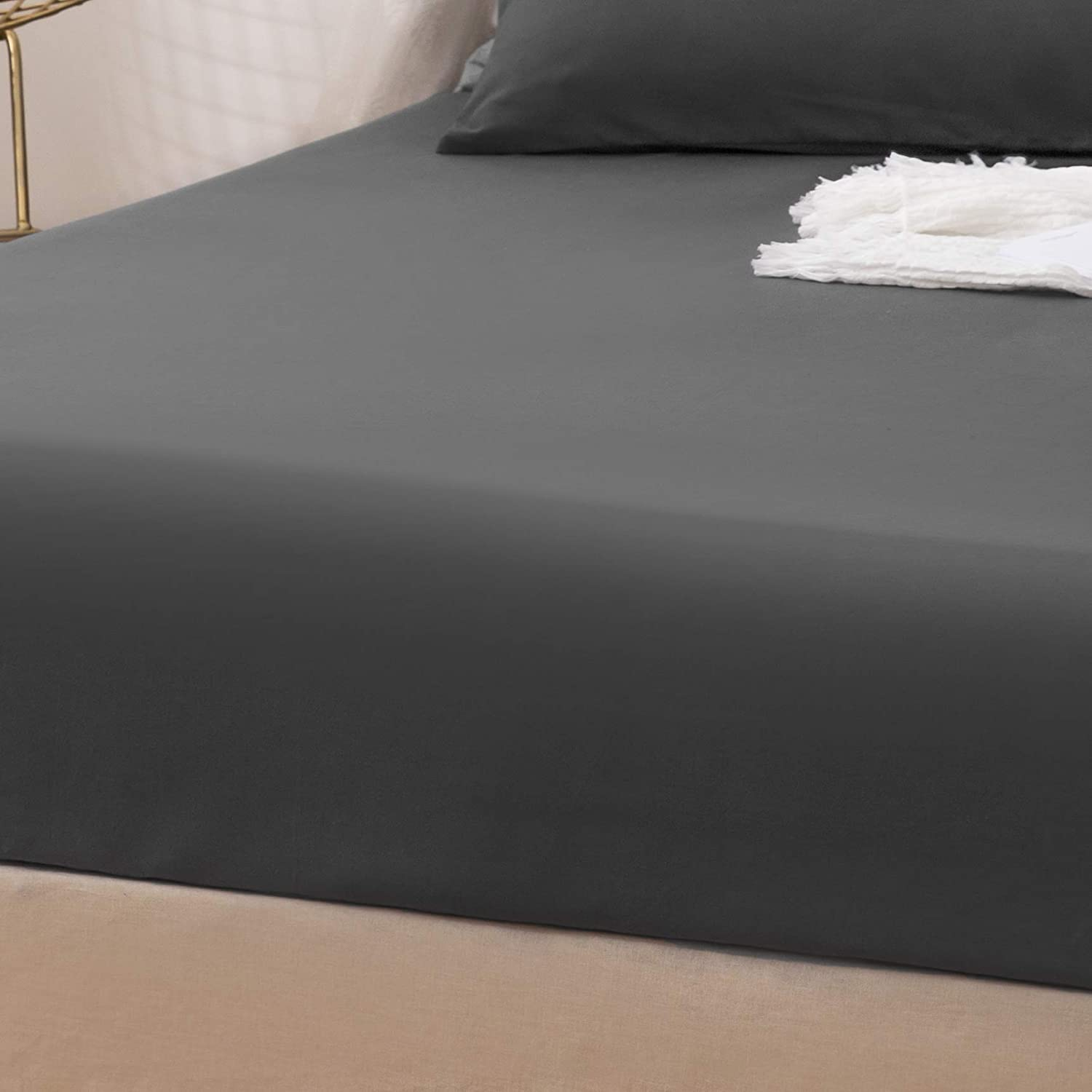 LS Fitted Bottom Sheet Only Premium Brushed Microfiber Ultra-Soft Fade Resistant Deep Pocket Queen Coffee