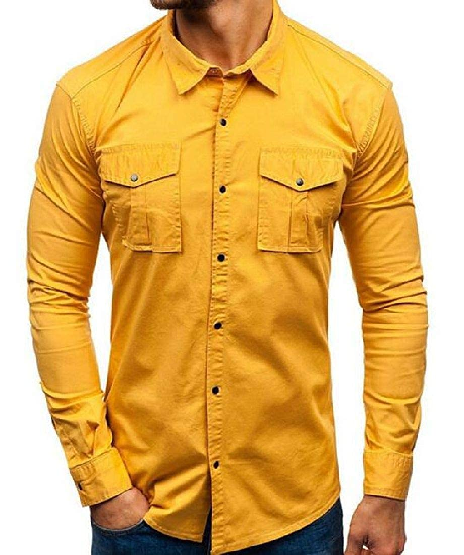 UUYUK Men Utility Pockets Cotton Long Sleeve Button Up Shirts